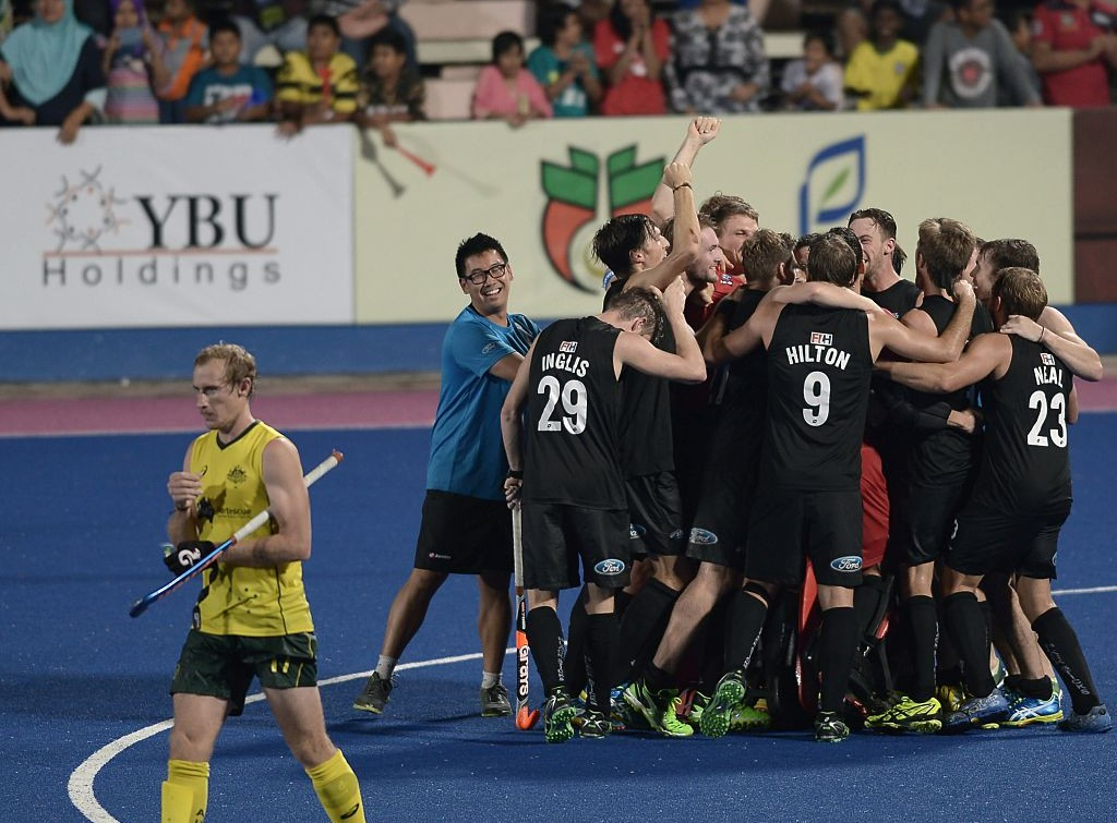 New Zealand's players celebrate after winning the Sultan Azlan Shah Cup