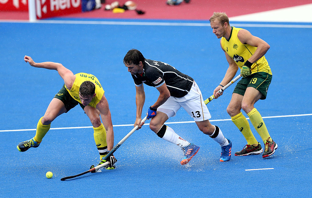 Simon Orchard of Australia, Tobias Hauke of Germany and Blake Govers of Australia during the FIH Mens Hero Hockey Champions Trophy match between Germany and Australia