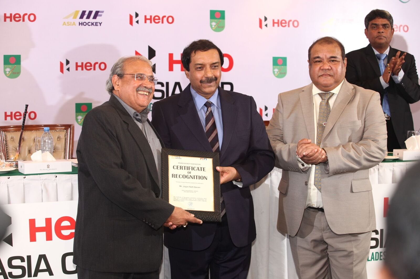 (From left to right) J Narain, Hero MotoCorp; Tayyab Ikram, CEO, AHF