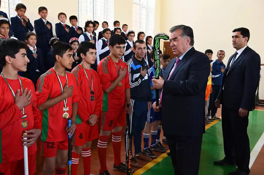 President of Tajikistan Emomali Rahmon with Tajikistan Hockey players during a sports festival last month