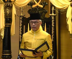 PEKAN, 15 Jan -- Sultan Pahang Al-Sultan Abdullah Ri'ayatuddin Al-Mustafa Billah Shah Ibni Sultan Ahmad Shah Al-Musta'in Billah ketika melafazkan sumpah sebagai Sultan dan Raja Pemerintah bagi negeri Pahang dan segala jajahan takluknya pada Istiadat Pemasyhuran Sultan Pahang Keenam di Istana Abu Bakar, hari ini. --fotoBERNAMA (2019) HAK CIPTA TERPELIHARA